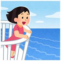 海を見る女性のイラスト