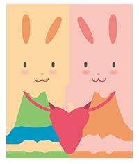ウサギのカップルのイラスト