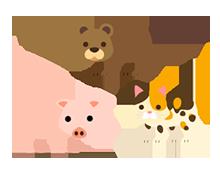 熊と豚と猫イラスト